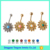 2017 New Arrival Indian Navel Body Jewelry Sunflower Free Hanging Belly Button Ring