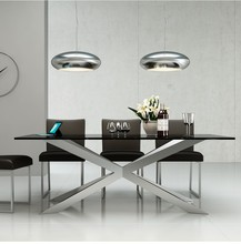 2016 Latest Modern Design Black Marble Top Dining Table With Special Shape Stainless Steel Base For Home Use