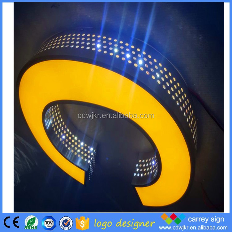face luminous outside sign stainless steel letters