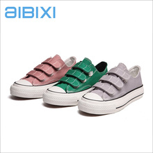 AIBIXI Custom Cheap Famous Brand Lady Buckle Strap Casual Canvas Shoes Sneakers