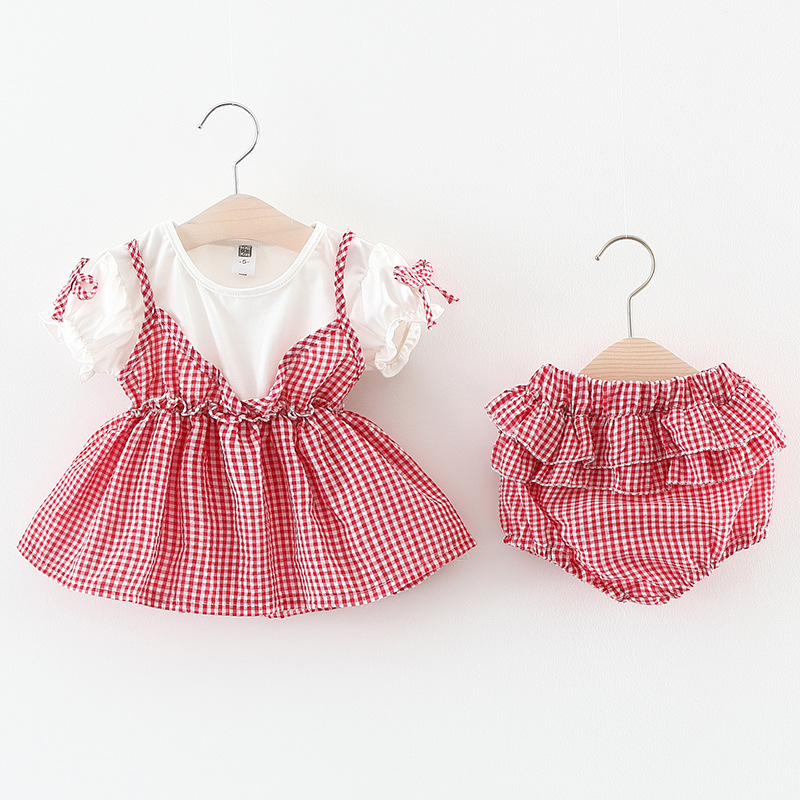 0-3 years New 2017 Wholesale Summer Cotton Girls Plaid Tops + PP Short Suit 2pcs Clothing Baby Sets