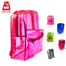 Quanzhou factory low price clear plastic backpack simple style waterproof stylish pvc transparent school bag