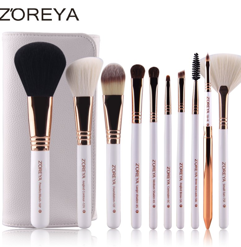 Latest design customised 10pcs rose gold handle brush sets makeup