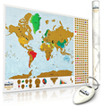 Scratch Off Map (2 pack) w/ World Country Flag Scratch 2 x Keychain Scratcher