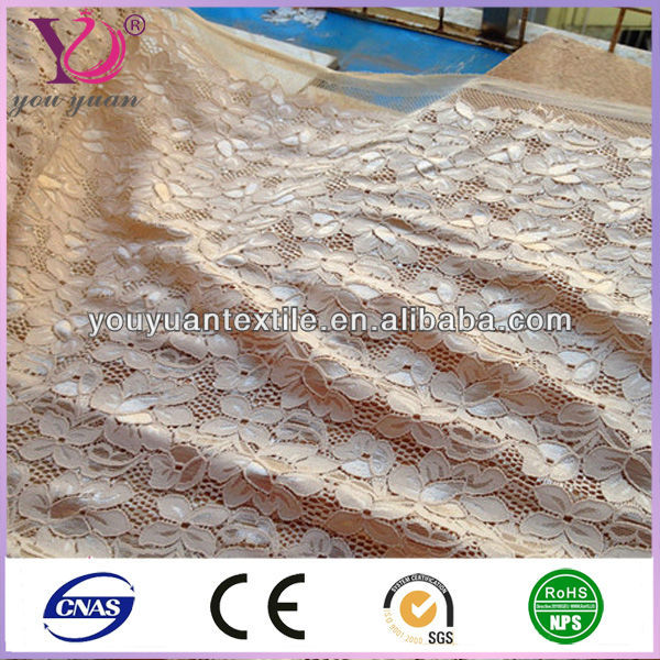 Polyester/nylon white bridal wedding shoes decoration tulle lace fabric