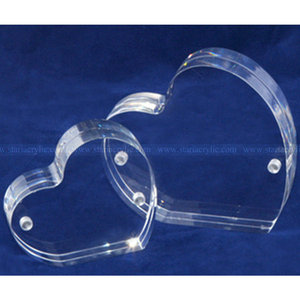 Heart shaped Clear Acrylic Magnetic Gift Photo Block Frames, Double Sided Printed Acrylic Heart Frame