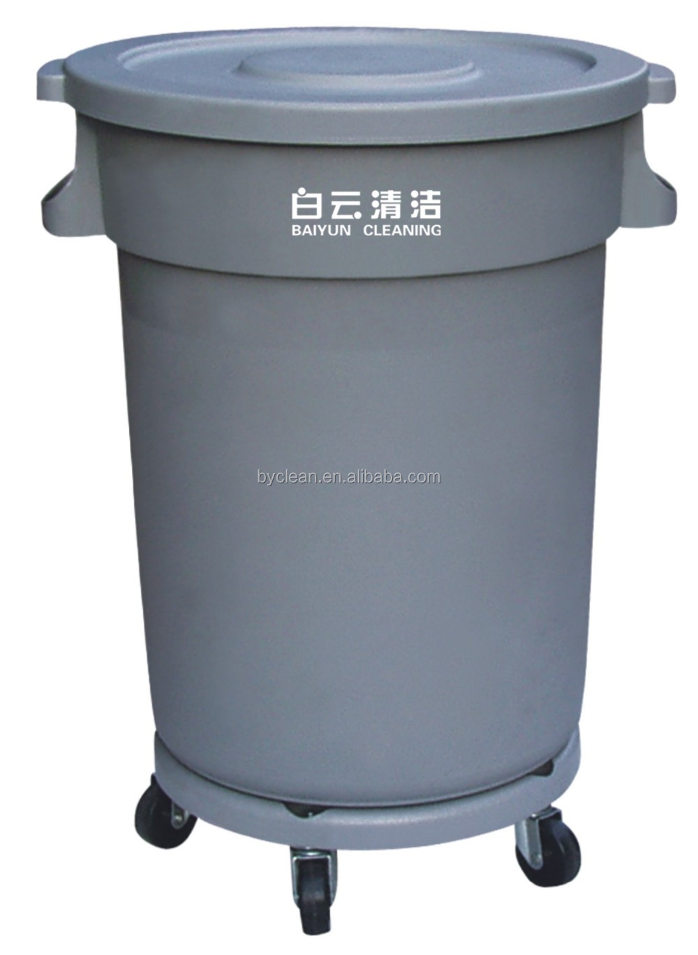 120 liter circular garbage bin with wheels / waste bin with wheels for street