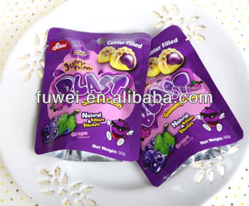 50g juicy center filled soft gummy jelly candy