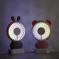 2018 hot selling rechargeable mini bear portable fan with colorful LED night light