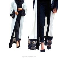 Latest abaya designs with contrast trim black trim design muslim dress new model abaya in dubai open front kimono