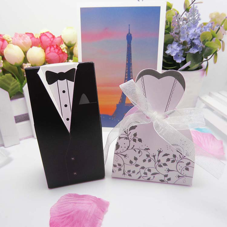 bride and groom tails wholesale party supplies Candy wedding favor gift box