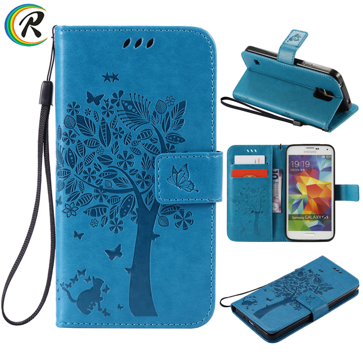 CRorange For Samsung S5 case For Samsung Galaxy S5 SV I9600 3D Tree Cat Pattern Wallet Magnet Flip Cover Leather Case stan