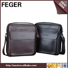 FEGER classic business mens shoulder bag cow split leather mens bag over the shoulder