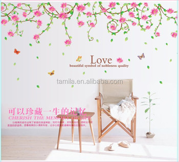 Livingroom romantic pink flower wall sticker buy removable wall livingroom romantic pink flower wall sticker mightylinksfo