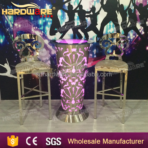led bar stainless steel tempered glass top bar tables with lights