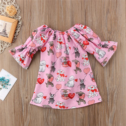 Valentine Gift Baby Girl Dogs Print Dress Kids Flare Sleeve Party Wedding Pageant Dresses Sundress Pink Girls Dress