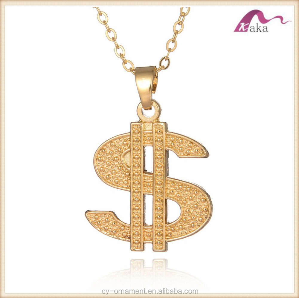 Hotsale halloween Pimp Gangster Fancy Dress Old School Hip Hop small Dollar Sign Gold Necklace