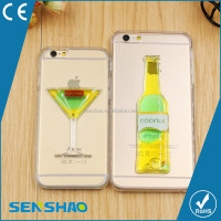 Hot Sale cheap Cartoon PC Red Wine Cup Liquid Transparent Case Cover For Apple iPhone 5 5S 6 6S 6 Plus All Models Phone Cases