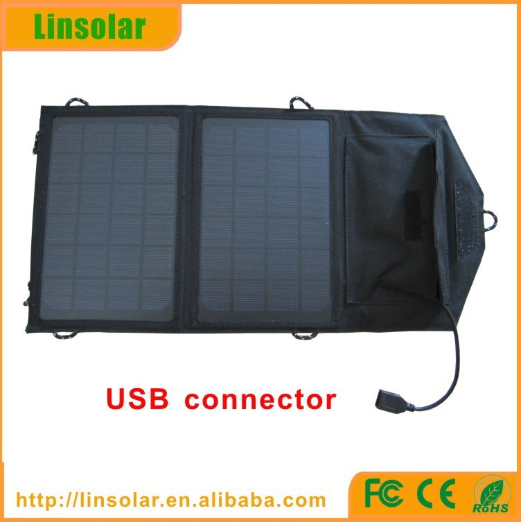 Hot selling 8w solar panel bag USB connecting folding solar charger for mobile