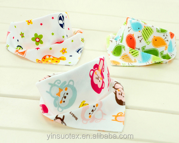 100% cotton Triangle baby Bibs washable customized printed cute design