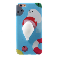 2017 New Squishy Seal Case for iPhone 7,3d silicone phone case for iPhone 7 plus Poke Squishy Cat Bear Back Cover