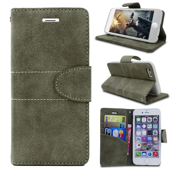 Wholesale Factory Price Arab Men Style Gray 5.5 Inch PU Cell Phone Leather Flip Case for Lenovo k900