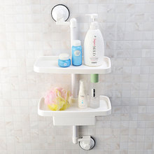 Bathroom Decorative 2 Layers Suction Cup Folding Floating Wall Shelf
