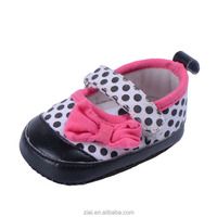 Black Dot on Shoe Upper With Pink Flower Wholesale Baby Shoes