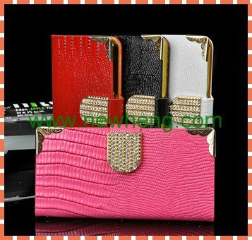 Luxury lizard pattern bling daimond pu leather case for iphone5