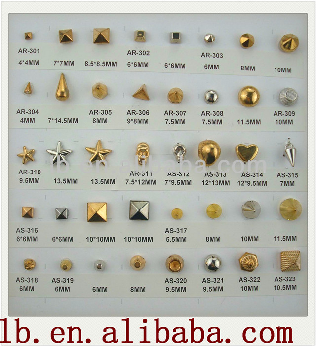 antique metal round/square/ silver/brass decorative fashion design 13/5/10/1mm gold metal studs for clothing/shoes