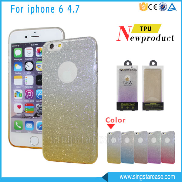 2 In 1 Flashing Powder Stickers Back Cover For iPhone 6 Change Colors Glitter Rubber TPU Phone Case For iPhone 6s