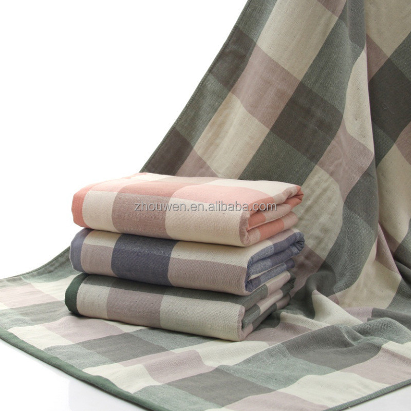 checkered standard bath towels size 70x140 cm 100% cotton