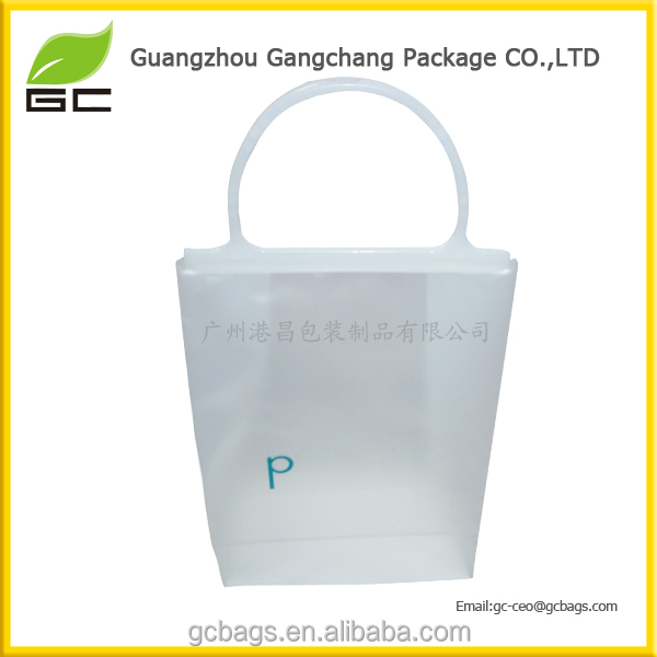 Premium Frosted Plain Plastic Gift Bags with Round Rigid Handle