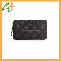 black color quilted waffle ladies clutch bags