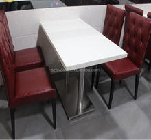 Factory Custom solid surface iron console table marble top, restaurant dining table, KFC table