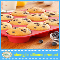 FDA free Non-stick Reusable 12-cavity Mini Round Cheesecake/ Pudding/ Tart/ Muffin Silicone Mold/ Baking Pans