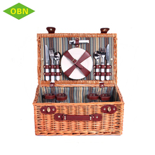 High quality custom portable empty picnic hamper handmade willow wicker picnic basket set for 4 - 6 persons