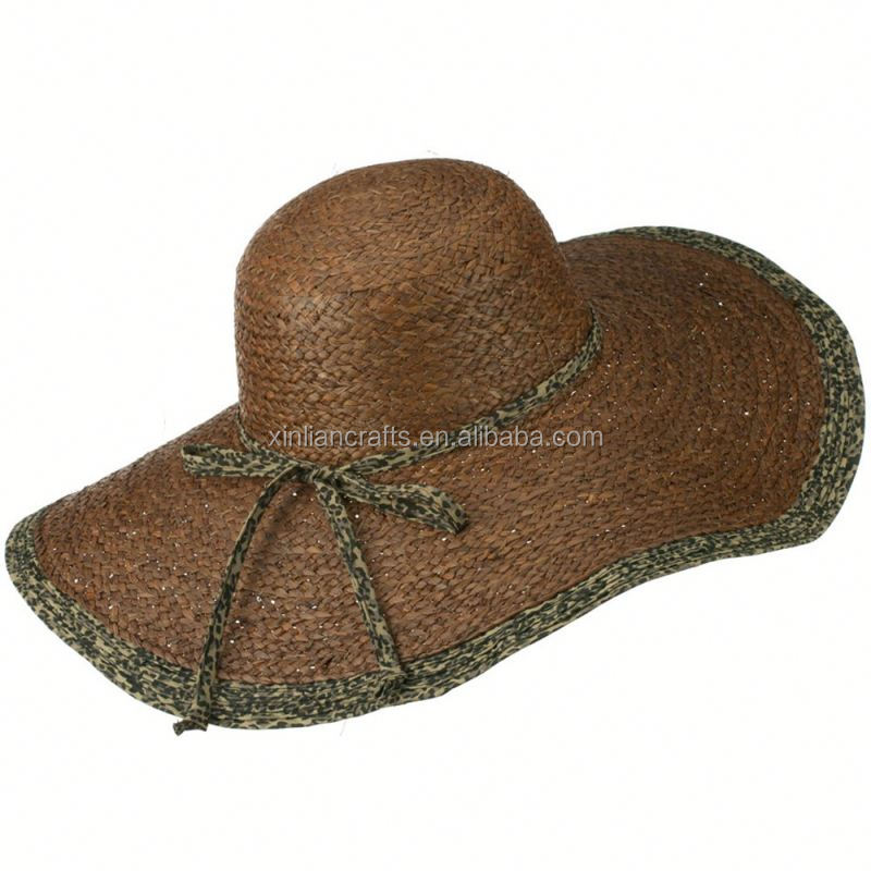 Free sample ladies straw hats wholesale straw hat with bowknot
