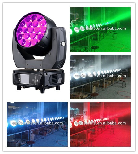 RGBW 4in1 zoom 19*15W aura moving head wash stage lighting