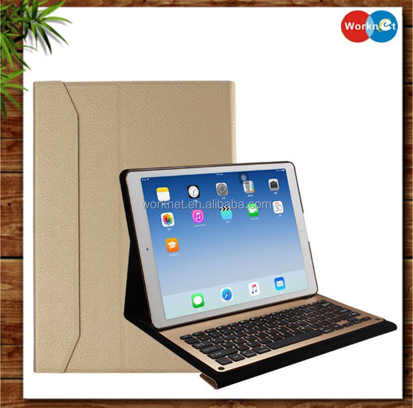 aluminum keyboard leather case For iPad Pro with leather cover case removable bluetooth 3.0 aluminum keyboard for iPad Pro 12.9