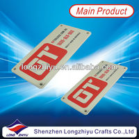 Shiny chrome plated metal bronze plaque enamel logo 3M self adhesive nameplates with small 4mm holes