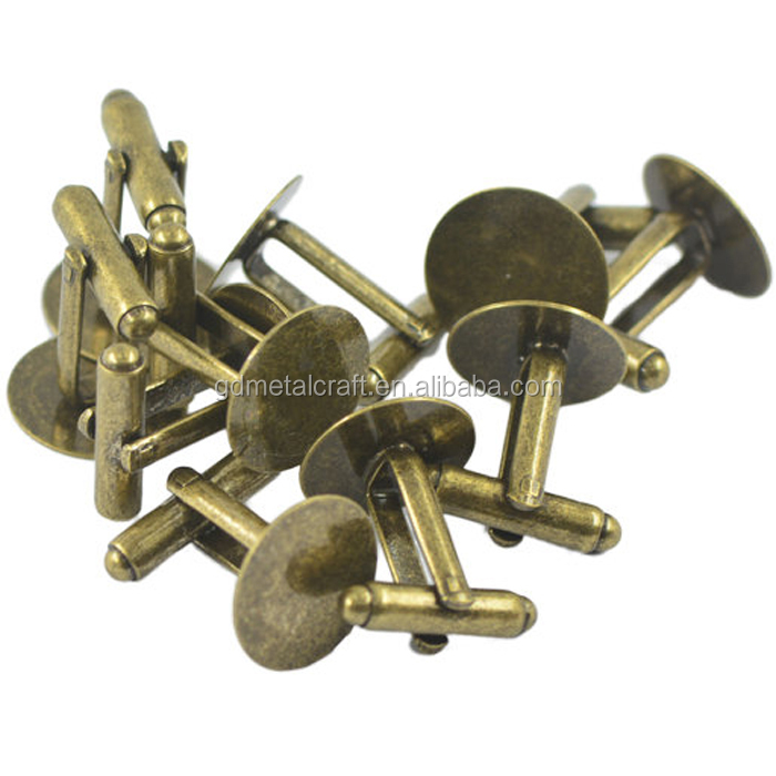 Antique Bronze Blanks Brass Cuff Link Cufflinks With Round Flat Pad