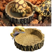 Best Promotion Brown Color 10.5*2.5cm Reptile Tortoise Water Dish Food Bowl Toy For Amphibians Gecko Snakes Lizard