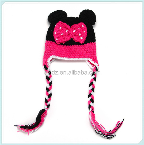Hot sale new style handmade crochet animal mouse hat for children