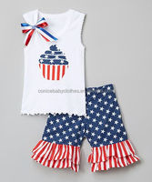 Wholesale online store preorder cross design spring baby girl boutique clothing sets