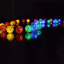 Solar power Ratten Ball String Lights for Indoor/Outdoor, Christmas, Garden, Patio, Fence and Holiday Decoration