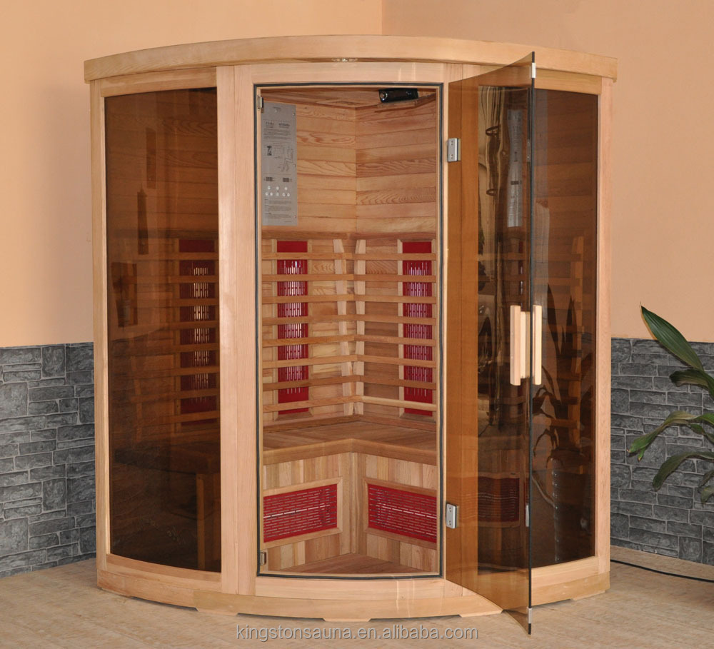 Wholesale popular wooden dry steam sauna cabin room for 3 for Sauna decoration ideas