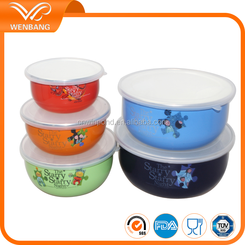 eco-friendly colorful stainless steel rim enamel mixing salad bowl set with lid
