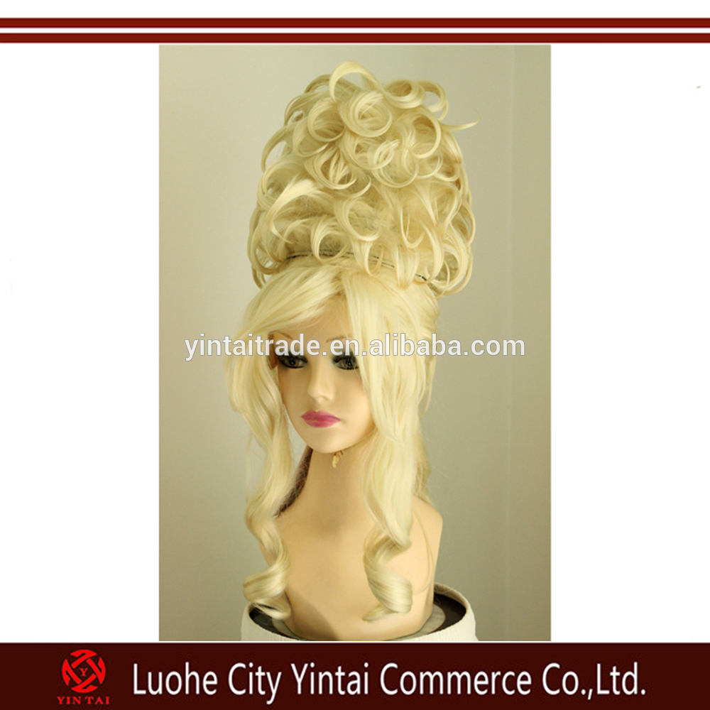 Hot sale party Huge Deluxe Drag Queen Updo Wig Blonde Curly Synthetic Wig
