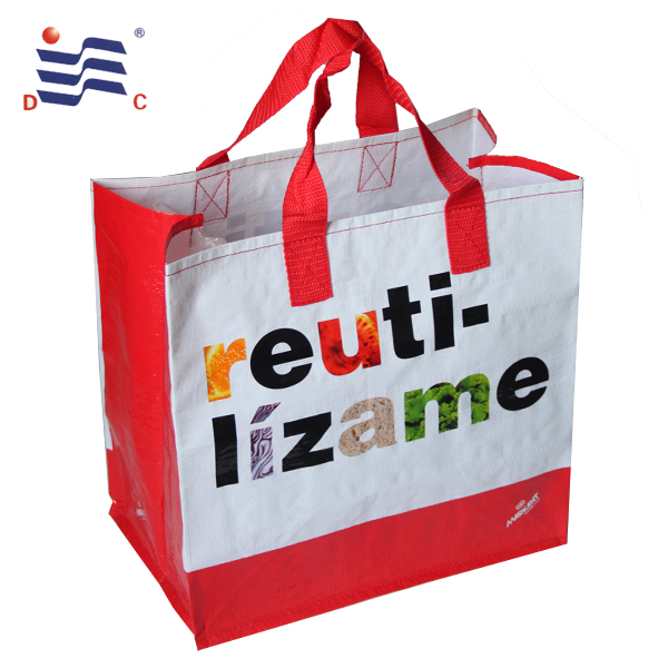 Recycled supermarket bopp laminated pp woven shopping bag